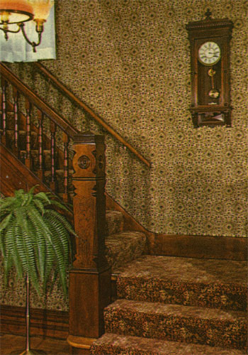 "The ""death clock"" (as well as one of the owl-headed banister posts)."