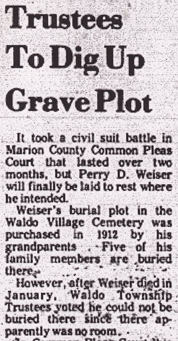 The headline from the October 12th, 1978, edition of The Marion Star.
