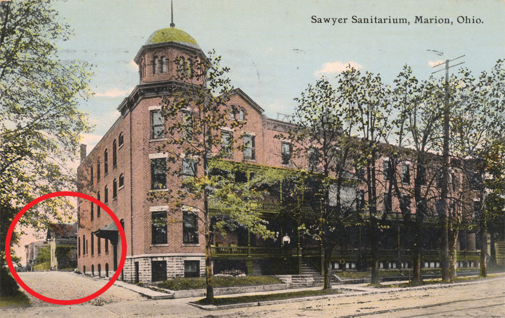 Patients who were suffering from physical and emotional maladies were treated at Dr. Sawyer's sanatorium. In this old postcard, Dr. Sawyer's house is visible at the back. Interestingly, the house originally faced Main Street but was moved to it's present location around 1901 to accommodate the sanatorium's expansion. This postcard is courtesy of Mike Crane's very cool collection of old Marion photos and postcards.