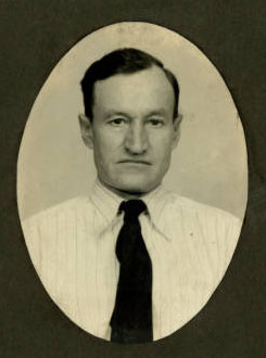 "Roush's photo from the Ohio Department of Rehabilitation and Corrections. The text accompanying the image reads, ""Harvey Roush, Legally Electrocuted for the Murder of Mr. and Mrs. Homer Mysers at Marion, Ohio."""