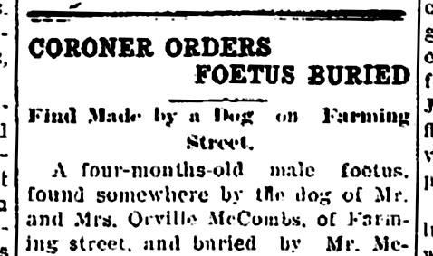 coroner order foetus buried